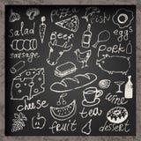 Grupo de alimento desenhado à mão no quadro Projeto do menu do alimento do restaurante Ilustração do vetor Fotos de Stock Royalty Free