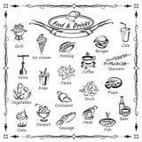 Grupo de alimento e de bebidas ilustração stock