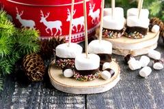 Grupo de alimento mergulhado do Natal dos marshmallows fotografia de stock