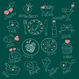 Grupo de alimentos com corações Amor romântico Para cartões dos convites Dia de Valentim, casamento Mão da garatuja tirada quadro Fotos de Stock