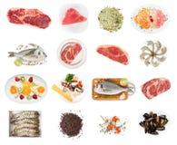 Grupo de alimentos crus no branco imagem de stock