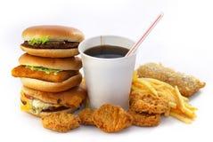 Grupo de alimentos rápido con una bebida y una hamburguesa Fotos de archivo libres de regalías