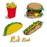 Grupo de alimentos rápidos Imagem de Stock