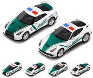 Grupo de alta qualidade isométrico do carro desportivo da polícia do vetor Ícone da polícia Tradução de texto Foto de Stock