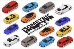 Grupo de alta qualidade isométrico do transporte do vetor Ícones do carro Fotos de Stock Royalty Free