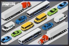 Grupo de alta qualidade isométrico do transporte do vetor ilustração do vetor