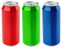 Grupo de alumínio da cor lata de cerveja de 500 ml isolada no fundo branco Foto de Stock Royalty Free