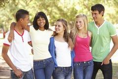 Grupo de amigos adolescentes que se divierten en parque Foto de archivo