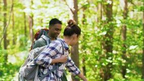 Grupo de amigos con las mochilas que caminan en bosque almacen de video