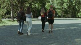 Grupo de amigos del estudiante que caminan después de conferencia almacen de video