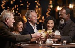 Grupo de amigos envelhecidos meio que comemoram na barra junto imagem de stock royalty free