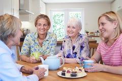 Grupo de amigos fêmeas envelhecidos diferentes que encontram-se em casa fotografia de stock royalty free