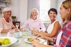 Grupo de amigos fêmeas maduros que apreciam a refeição em casa fotos de stock