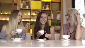 Grupo de amigos fêmeas que conversam e que riem junto ao beber o café video estoque