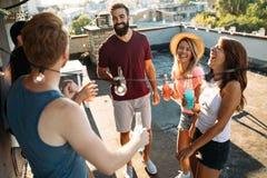 Grupo de amigos felices que tienen partido en tejado Foto de archivo libre de regalías