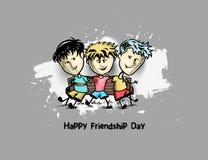 Grupo de amigos felizes que apreciam o dia da amizade ilustração stock