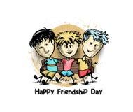Grupo de amigos felizes que apreciam o dia da amizade ilustração royalty free