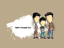 Grupo de amigos felizes que apreciam o dia da amizade Mão Dracma dos desenhos animados ilustração stock