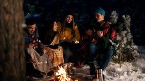 Grupo de amigos felizes que sentam-se na floresta do inverno pelo fogo e que comem marshmallows Um homem novo que joga a guitarra filme