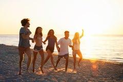 Grupo de amigos felizes que t?m o divertimento na praia do oceano no alvorecer imagem de stock