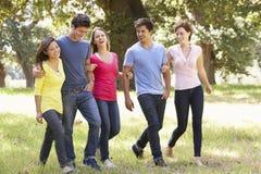 Grupo de amigos jovenes que caminan a través de campo Fotos de archivo libres de regalías