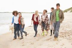 Grupo de amigos jovenes que recorren a lo largo del otoño Shorel Imágenes de archivo libres de regalías