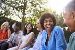 Grupo de amigos maduros que socializam no quintal junto imagem de stock