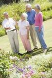 Grupo de amigos mayores en jardín imagen de archivo libre de regalías