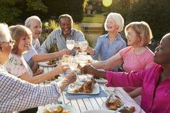 Grupo de amigos mayores que hacen una tostada en el partido de cena al aire libre fotografía de archivo libre de regalías