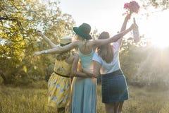Grupo de amigos de muchachas que hacen comida campestre al aire libre Se divierten foto de archivo