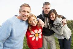 Grupo de amigos na caminhada no campo do outono Imagens de Stock Royalty Free