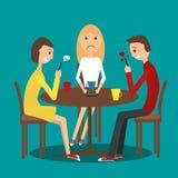 Grupo de amigos no café ilustração stock