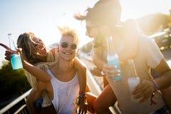 Grupo de amigos novos que t?m o divertimento junto fotos de stock