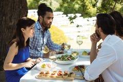 Grupo de amigos que almuerzan Foto de archivo
