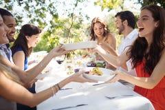 Grupo de amigos que almuerzan Imagen de archivo libre de regalías