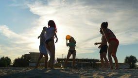 Grupo de amigos que apreciam seu tempo na praia e que jogam o voleibol vídeos de arquivo