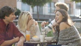 Grupo de amigos que disfrutan de su tiempo en el partido al aire libre en patio trasero almacen de metraje de vídeo