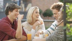 Grupo de amigos que disfrutan de su tiempo en el partido al aire libre en patio trasero almacen de video