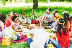 Grupo de amigos que disfrutan de una comida campestre mientras que come y bebe el vino tinto que se sienta en la manta en un parq imágenes de archivo libres de regalías