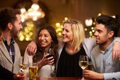 Grupo de amigos que gozan que iguala bebidas en barra Imagen de archivo libre de regalías