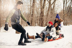 Grupo de amigos que gozan que tira de un trineo en la nieve en invierno Imágenes de archivo libres de regalías