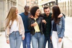 Grupo de amigos que se divierten junto al aire libre imagen de archivo