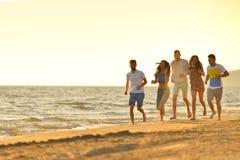 Grupo de amigos que se divierten que camina abajo de la playa en la puesta del sol Fotos de archivo