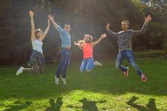 Grupo de amigos que se divierten y que saltan en el día soleado idílico Imágenes de archivo libres de regalías