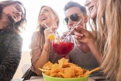 Grupo de amigos que têm beber do togheter do divertimento Imagem de Stock