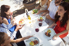 Grupo de amigos que têm o almoço Fotografia de Stock Royalty Free