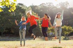 Grupo de amigos que têm o divertimento no parque imagens de stock royalty free