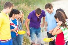 Grupo de amigos que tienen comida campestre en la playa Fotografía de archivo