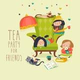 Grupo de amigos que tienen una fiesta del té stock de ilustración