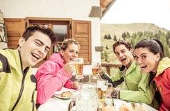 Grupo de amigos que tomam o selfie durante o dia do esqui fotos de stock royalty free